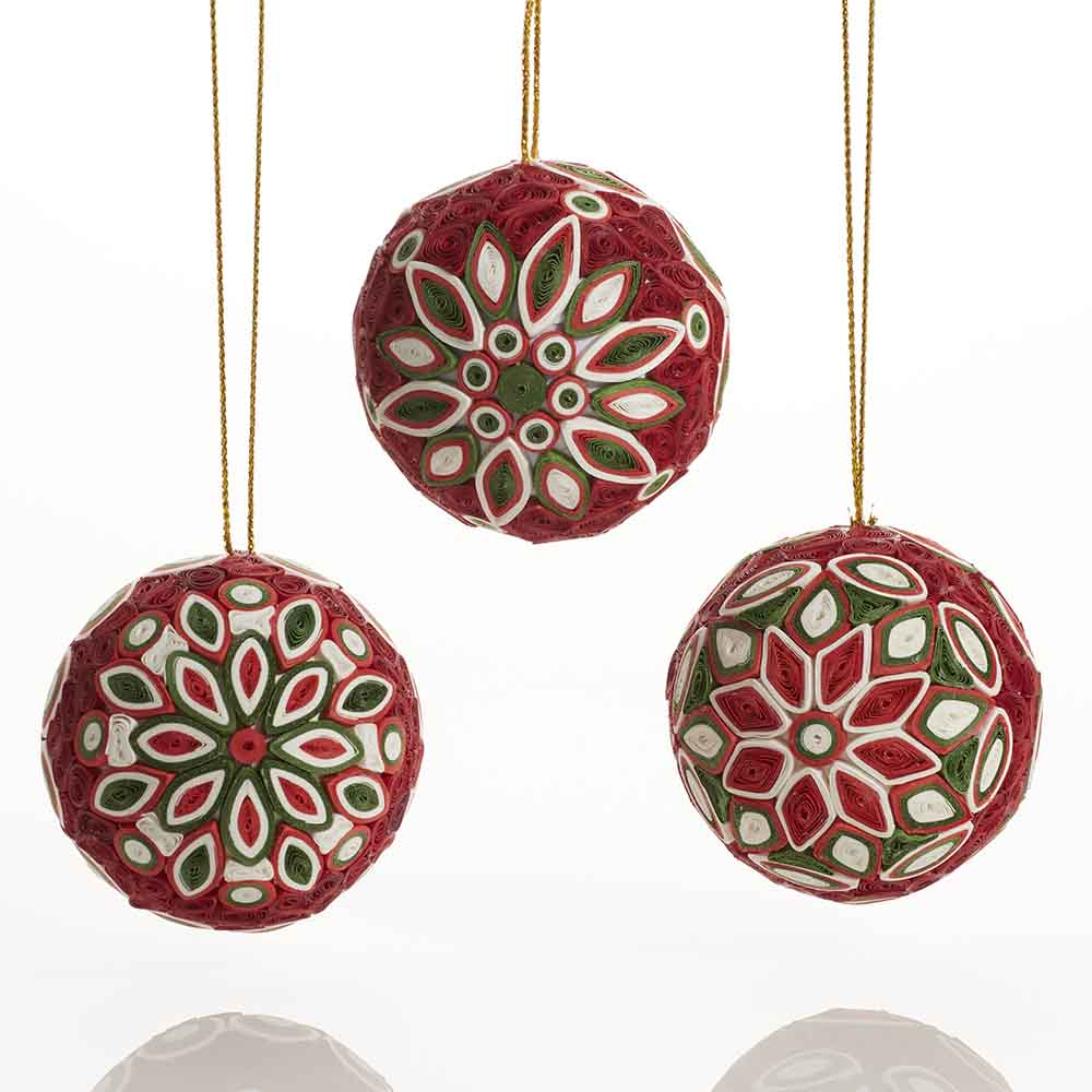 Quilled Christmas Balls Ornament Set