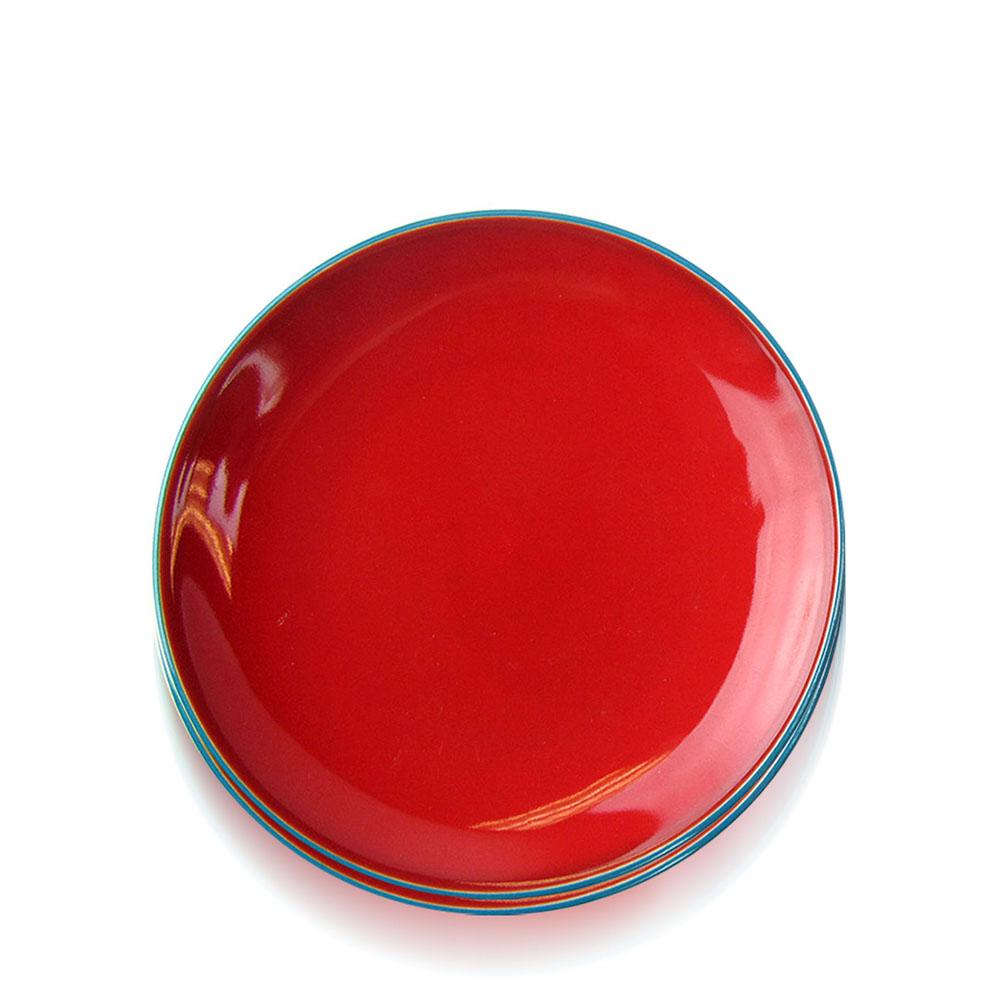 Red Song Cai Dessert Plates Set
