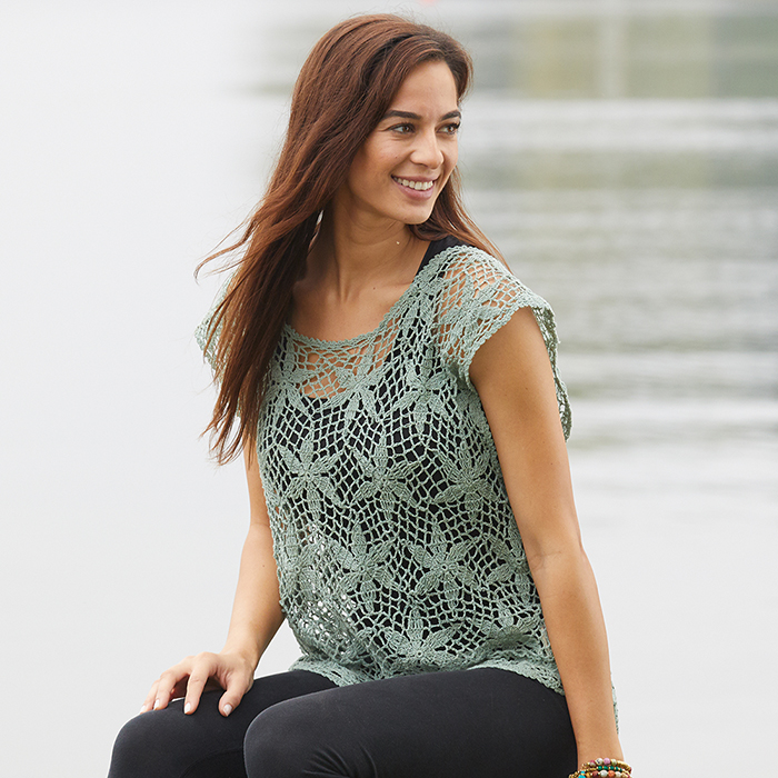 Crocheted Flora Sweater - Soft Sage