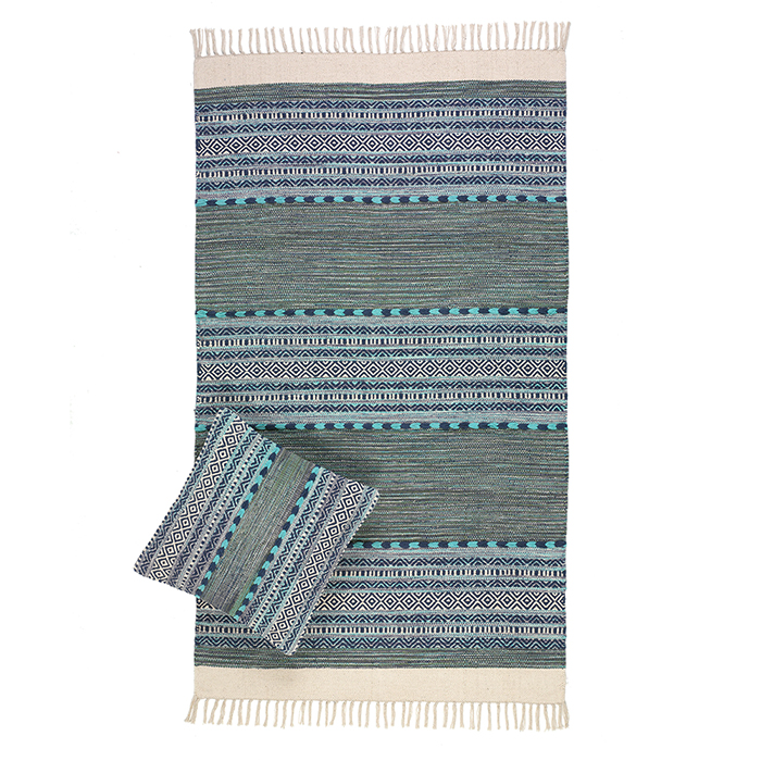 Multistripe Blue & Green Kilim Rugs