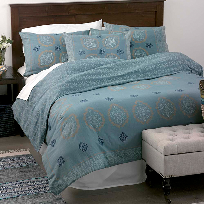 Block Print Mandala Bedding - Slate Blue