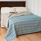 Teal & Multi Stripe Floral Bedcover