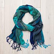 Mediterranean Stripe Scarf - Blue & Green