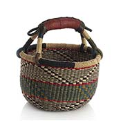 Small Blue & Green Handled Bolga Basket