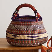 Large Violet & Red Handled Bolga Basket