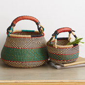 Set of 2 Blue-Green Ghana Market Baskets