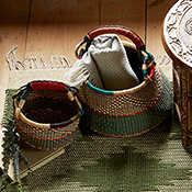 set of 2 blue green ghana market baskets