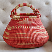 red orange handled bolgatanga basket