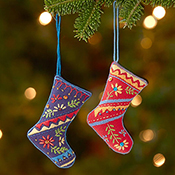 Cotton Stockings Ornament Set