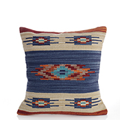 New Delhi Kilim Blue Band Pillow