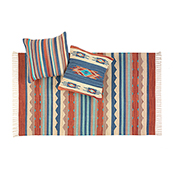 agra kilim blue stripe pillow