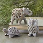 Set of 3 Double-Carved Gorara Animals