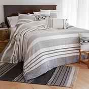 bengali stripe square pillow with bold stripe