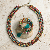 Sari Bead Necklace & Bracelet Set