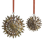 round snowflakes ornaments set of 2