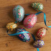 petite golden floral kashmiri eggs