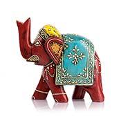 Hand-Painted Wood Elephant