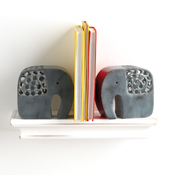 Double Carved Elephant Bookends