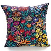 Bright Garden Embroidered Pillow