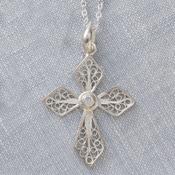 Filigree Swirl Cross Necklace