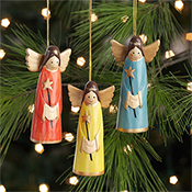 Smiling Angel Ornament Set