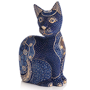 Carved Batik Blue Cat