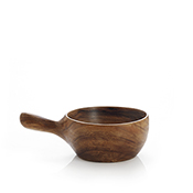 Suar Wood Handled Wood Bowl