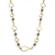 Hematite Teardrop Link Necklace