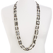 Long Batik Bead Necklace