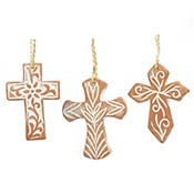 Terra Cotta Crosses Ornament Set