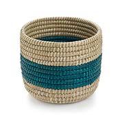 Teal Singular Stripe Round Basket