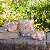 large owl citronella candle