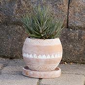 small round geo planter
