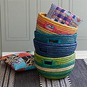 green stripe bucket basket