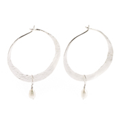 silver hoops pearl earrings