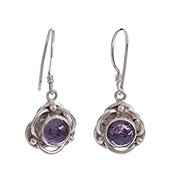 Flower Amethyst Drop Earrings