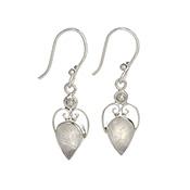 Silvery Moonstone Earrings