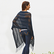 crocheted cotton poncho navy