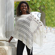 Crocheted Cotton Poncho - Cream