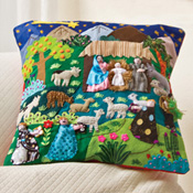 Arpillera Nativity Pillow