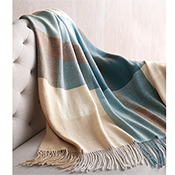 Blue Colorblock Alpaca Throw