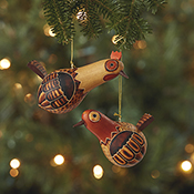 Rooster & Hen Ornament Set