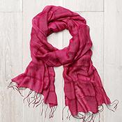 Raspberry Hand-Spun Silk Scarf