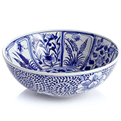 blue meadow serving bowl