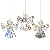 Recycled Paper Angel Ornaments