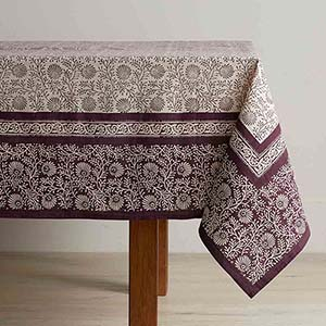 Aubergine Wildflower Tablecloths - Standard