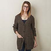 cozy cable cardigan brown