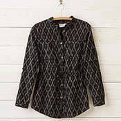 black ikat utility jacket