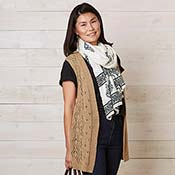 Long Knit Diamond Camel Vest