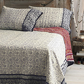 indigo and sari kantha bedding